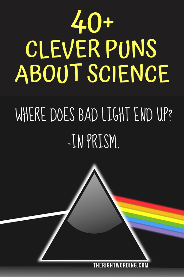 Clever Science Puns And Jokes That Any Nerd Would Love, one liners jokes for scientists or a teacher #science #sciencejokes #sciencejoke #sciencepun #sciencepuns #sciencequote #sciencequotes